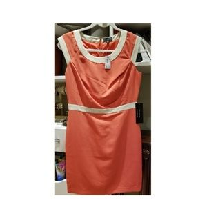 Coral Sleeveless Dress with Cream Trim Design